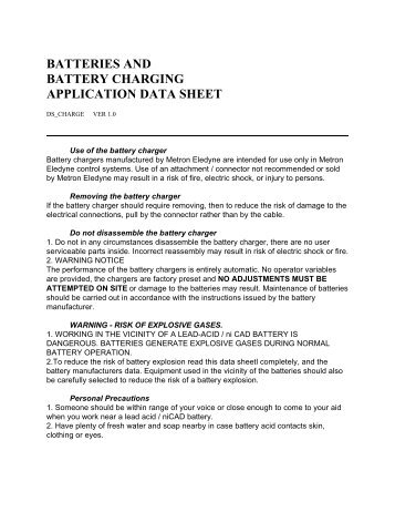batteries and battery charging application data sheet - Metron Eledyne
