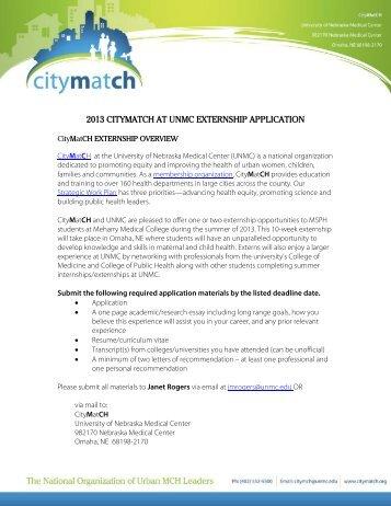 2013 CityMatCH Summer Externship Application Form