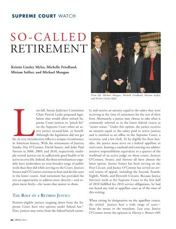 SO-CALLED RETIREMENT - The Bar Association of San Francisco
