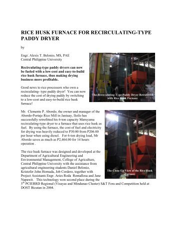 rice husk furnace for recirculating-type paddy dryer - BioEnergy ...