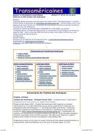 Bulletin num. 50 du 16-10-2012 - Institut des Amériques