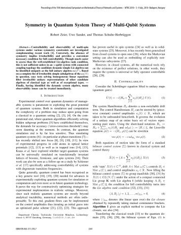 Symmetry in Quantum System Theory of Multi ... - Conferences.hu