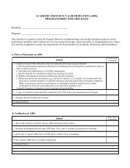 ACADEMIC DEFICIENCY & REMEDIATION (ADR): PROGRAM ...
