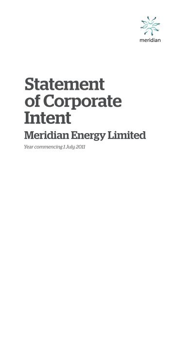Statement of Corporate Intent 1 July 2011 - Meridian Energy