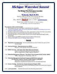 Michigan Michigan Watershed Summit Watershed Summit ...