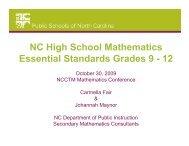NC High School Mathematics Essential Standards Grades 9 - 12