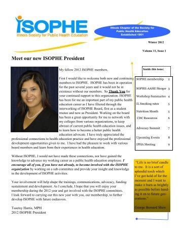 2012 Winter Newsletter - sophe - Society for Public Health Education