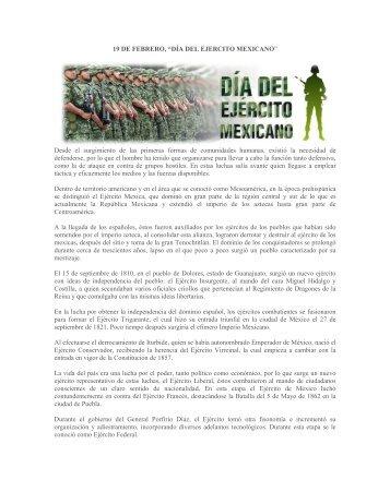 """19 DE FEBRERO, """"DÍA DEL EJERCITO MEXICANO"""" Desde el ..."""