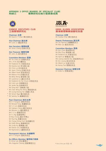 APPENDIX 3 OFFICE BEARERS OF SPECIALIST CLUBS CHINESE ...