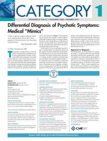 Differential Diagnosis of Psychotic Symptoms ... - CMELLC.com