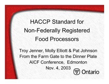 Ontario's HACCP Standard