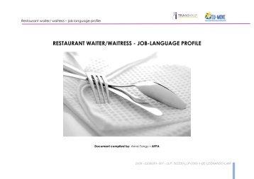 restaurant waiter/waitress - job-language profile - EVTA