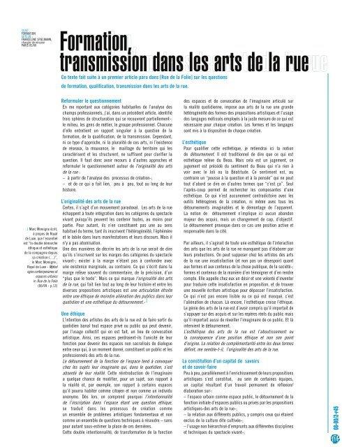 Formation, transmission dans les arts de la rue