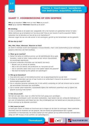 Kaart 7: voorbereiding op een gesprek - Taalwerkt.nl