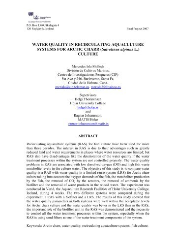 WATER QUALITY IN RECIRCULATING AQUACULTURE SYSTEMS ...