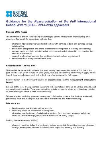 2013-2016 applicants - British Council Schools Online