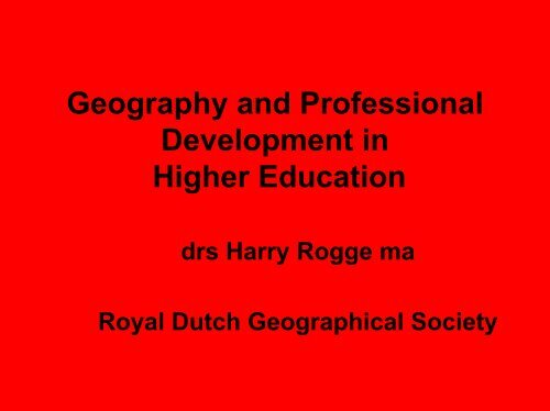 Geography and Professional Development in Higher Education