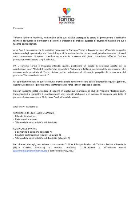 Bando - Turismo Torino