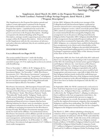 Supplement, dated March 30, 2009, to the Program - College ...