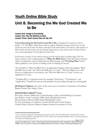 Youth Online Bible Study Unit 8. Becoming the ... - BaptistWay Press