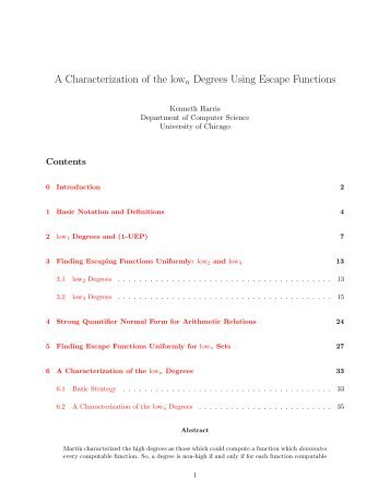A Characterization of the lown Degrees Using Escape Functions