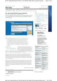 09.12.2010 Tagesanzeiger: Wo die Stadt Zürich sparen ... - eZürich