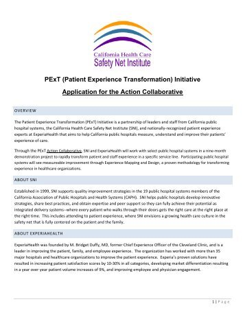 PExT (Patient Experience Transformation) - Safety Net Institute