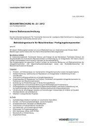 BEKANNTMACHUNG Nr. 23 / 2012 Interne ... - voestalpine