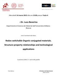 il Dr. Luca Beverina Redox switchable Organic conjugated materials ...