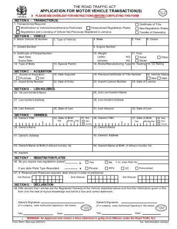 Application for Motor Vehicle Transaction(s) - Tax Administration ...