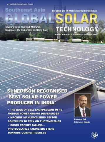 sunedison recognised 'best solar power producer in india'