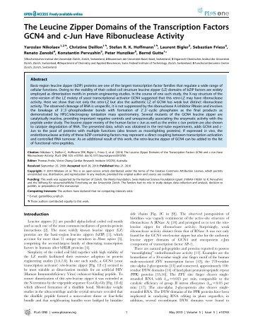 The leucine zipper domains of the transcription fa... - ResearchGate