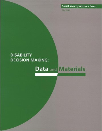 Disability Decision Making: Data and Materials, May 2006