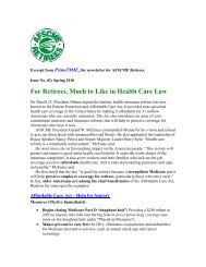 For Retirees, Much to Like in Health Care Law - AFSCME