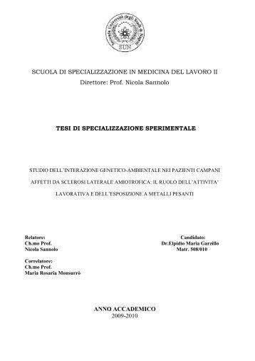 Espozione Professionale a Metalli Pesanti e Sclerosi ... - Anmil