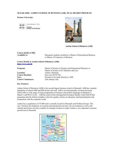 MQ-AARHUS DUAL DEGREE PROGRAM - International