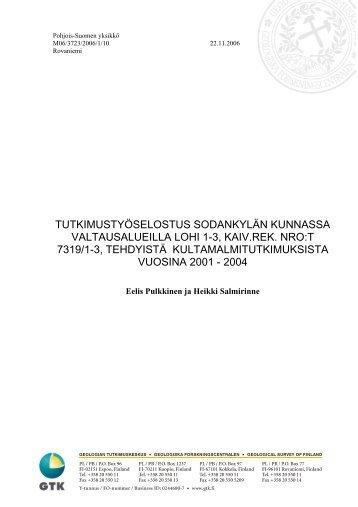 tutkimustyöselostus sodankylän kunnassa ... - Arkisto.gsf.fi