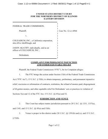 Complaint for Permanent Injunction and Other Equitable ... - MLMLaw