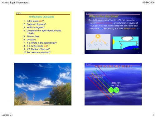 WHY IS THE SKY BLUE ? - The Burns Home Page