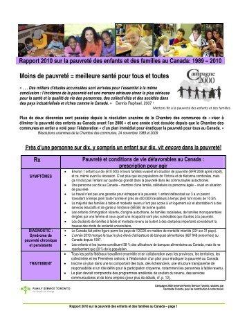 Moins de pauvreté = meilleure santé pour tous et ... - Campaign 2000