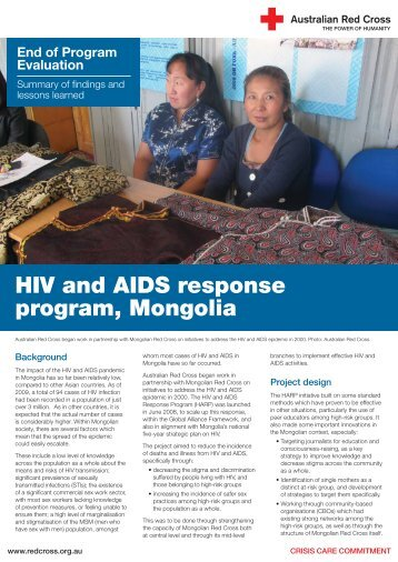 HIV and AIDS response program, Mongolia - Australian Red Cross
