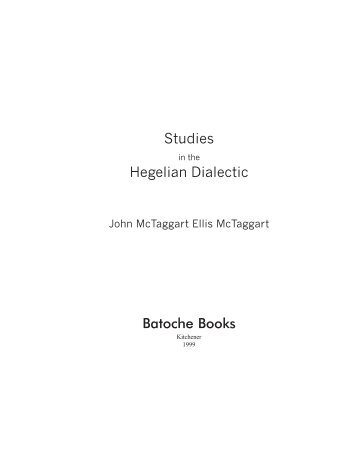 Studies in the Hegelian Dialectic - Online Christian Library