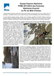 Equipe Espoirs Alpinisme FFME 2011/2012 des Pyrénées ...