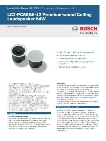LC2‑PC60G6‑12 Premium‑sound Ceiling Loudspeaker 64W