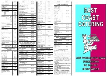 PARTY HIRE BROCHURE new prices.pub - East Coast Catering