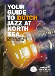 YOUR GUIDE TO DUTCH JAZZ AT NORTH SEA - Buma Cultuur