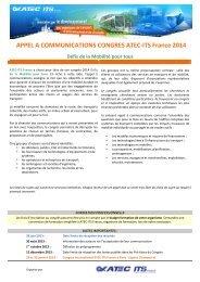 APPEL A COMMUNICATIONS CONGRES ATEC-ITS France 2014