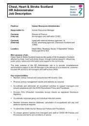 Chest, Heart & Stroke Scotland HR Administrator Job Description