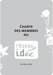 la Charte du Réseau - Réseau IDée
