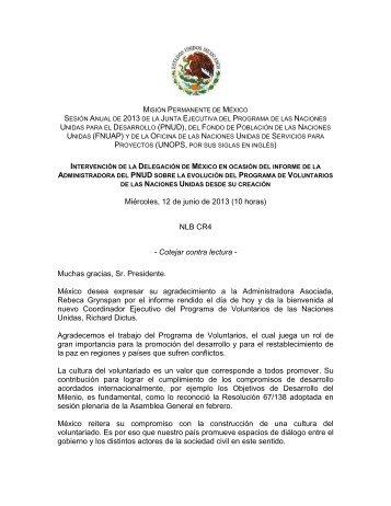 Participación de la Delegación de México en ocasión del informe de ...